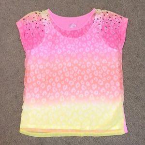 Justice Pink Ombré Leopard Print Top